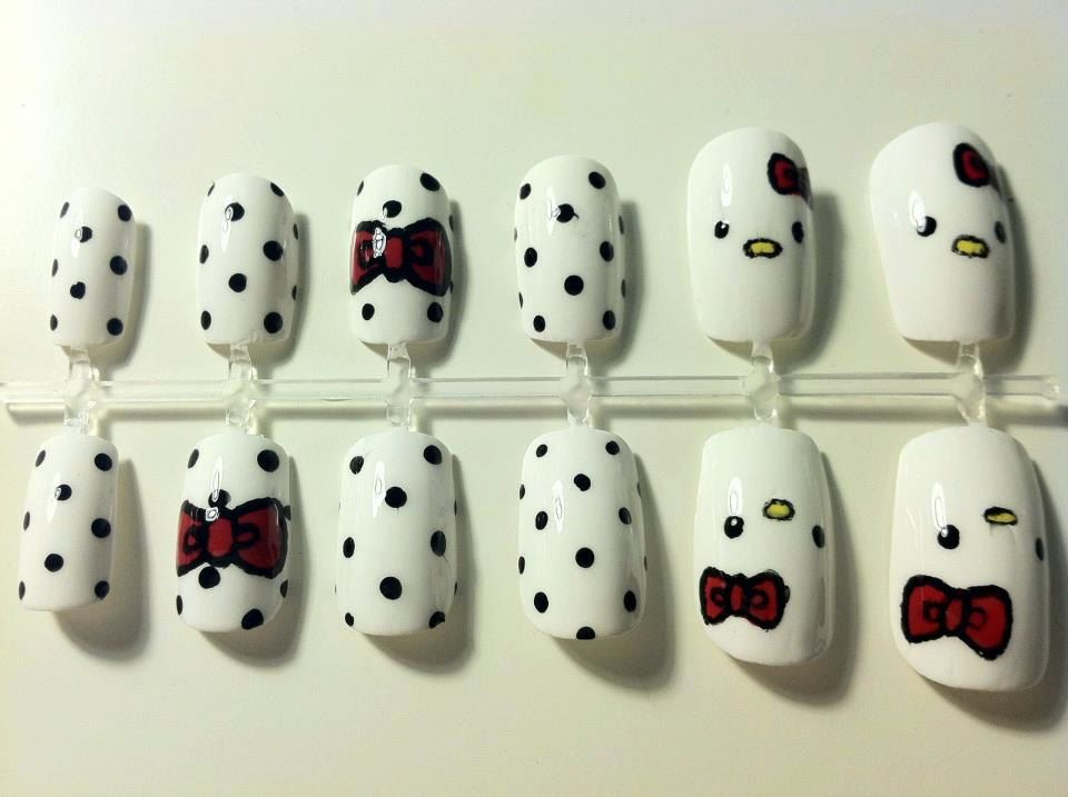 Cute Hello Kitty False Nails $1200, via Etsy halloween ideas - hello kitty halloween decorations