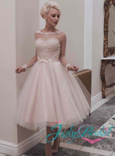 1950s Vintage Inspired Blush Open Back Wedding Dress