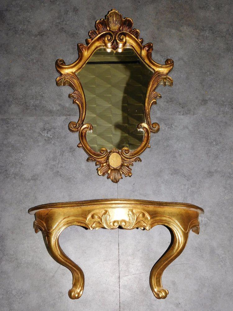 dor/é Rose Miroir de Commode Ovale /à Main avec Motif Floral Vintage pour Femme