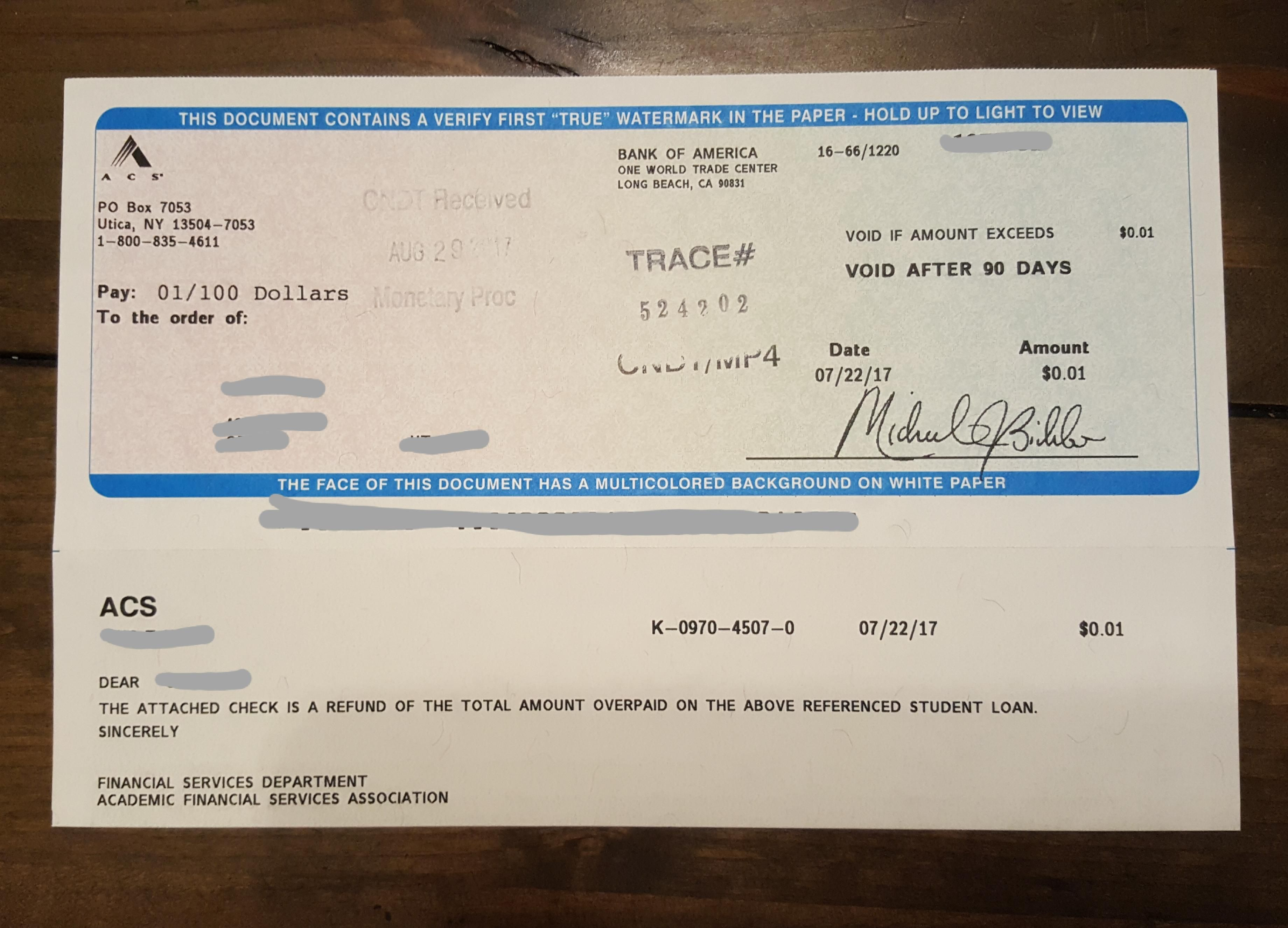 My Wife Just Received A 0 01 Refund Check For A Student Loan That