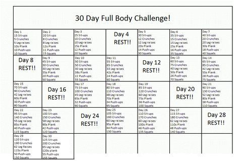 30 Day Challenge With Abs Squats And Push Ups