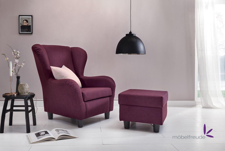 Ohrensessel Savana Mit Hocker Wohnzimmer Sessel