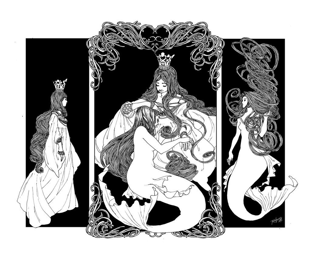 Queen And Mermaid Triptych By Trungles On Deviantart Triptych