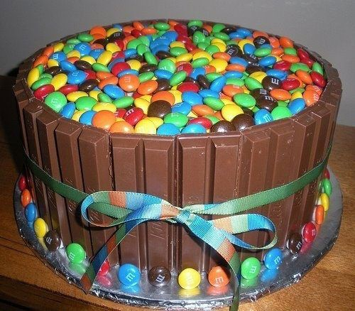 Once you bake your cake then surround it with Kit Kat bars and M