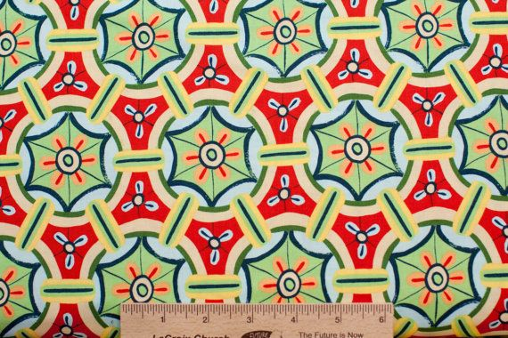 Melissa White fabric Misaki Pine Wheels MW08 Edo Red Green Yellow abstract 100% Cotton Fabric Sewing Quilting fabric by the yard freespirit
