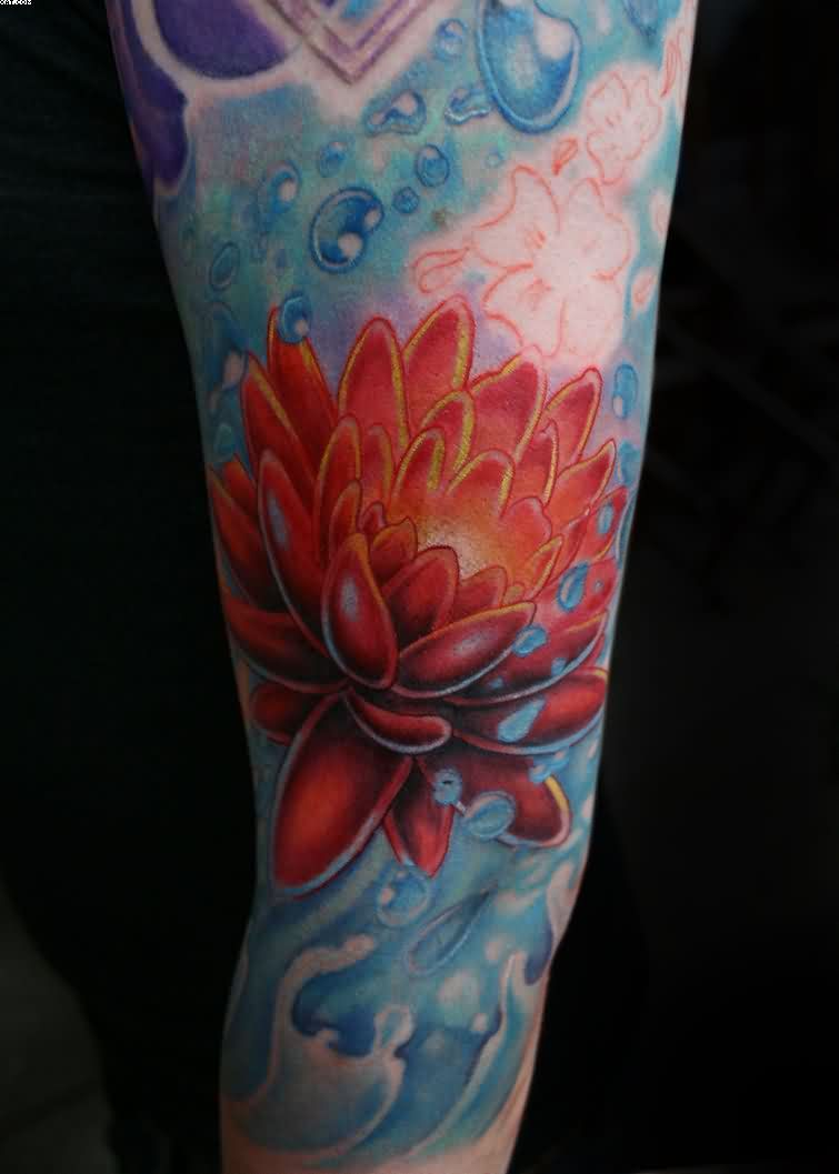 Bubbles And Lotus Tattoos On Arm | Bubbles | Pinterest | Lotus ...