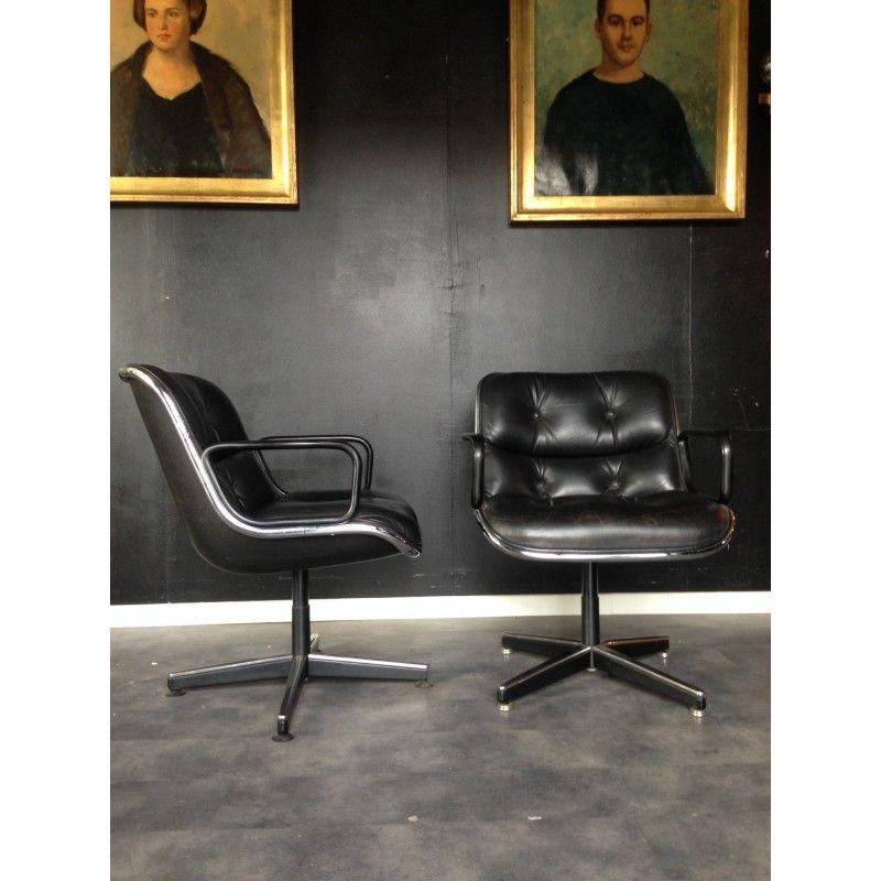 Chaise De Bureau Vintage Fauteuil De Bureau Vintage En Cuir Charles Pollock 1960 Design Lounge Chair Eames Lounge Home Decor