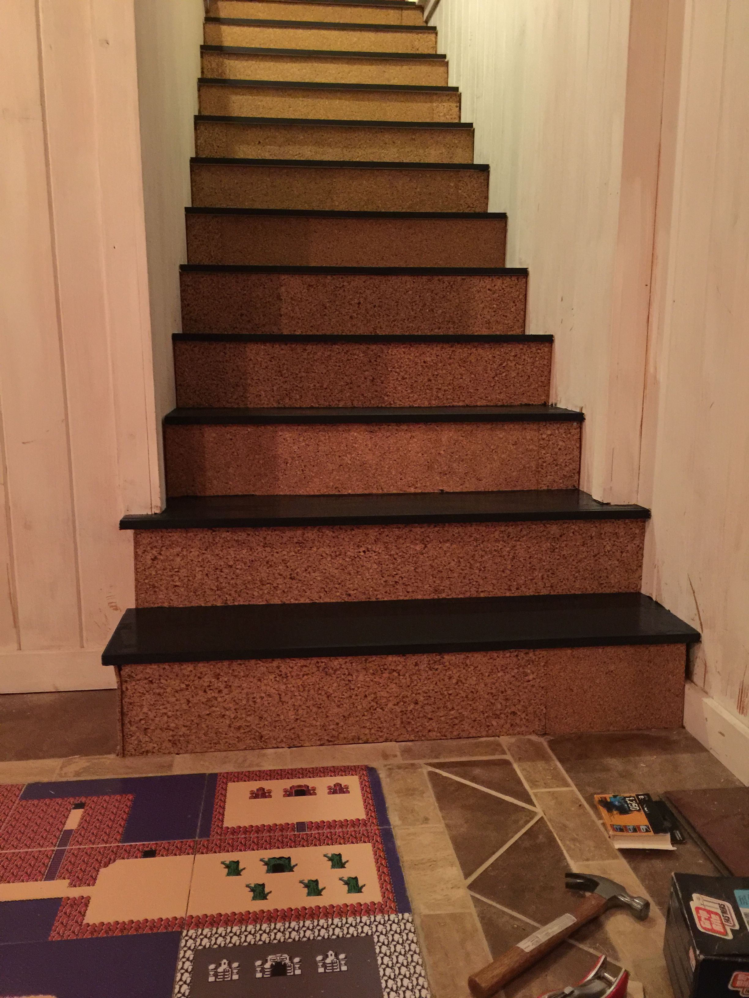 Best Finished Back Stairs With Cork Risers Game Room Stairs 400 x 300