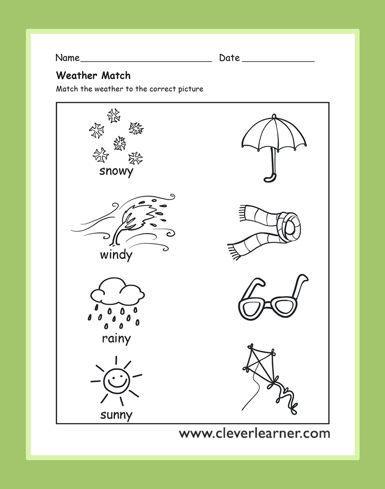 The Weather Activity Worksheets for preschool children