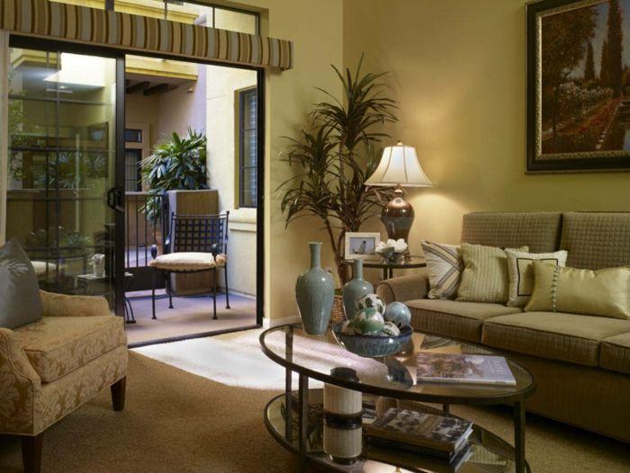 Ovaler Couchtisch Glas Wohnzimmer Mit Balkon