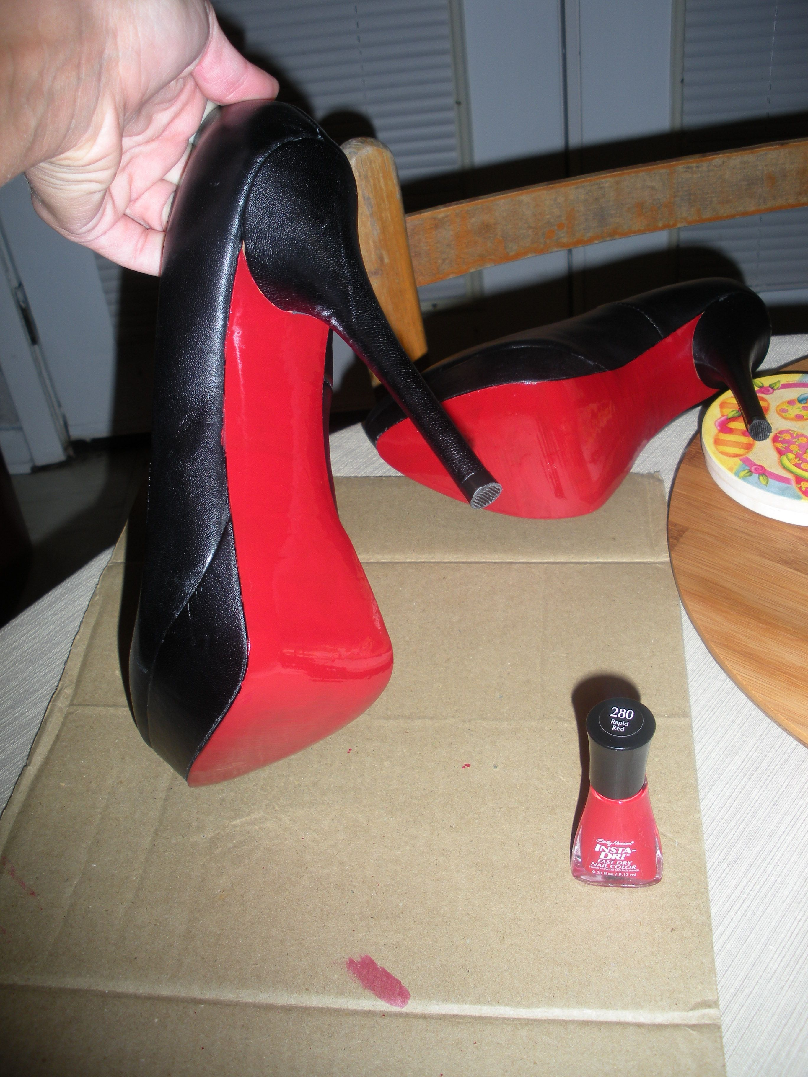 46c62230e946 Super cheap and easy fashion craft here...I painted the bottoms of my Steve  Madden shoes red...looks a lot like Christian Louboutin shoes now!