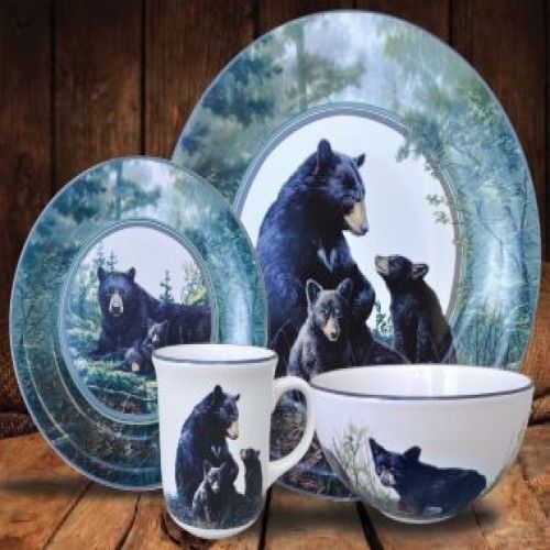 Wildlife Dishes Set Black Bear Dinnerware Hunting Lodge Log Cabin Nature Themed #Cabela & Wildlife Dishes Set Black Bear Dinnerware Hunting Lodge Log Cabin ...