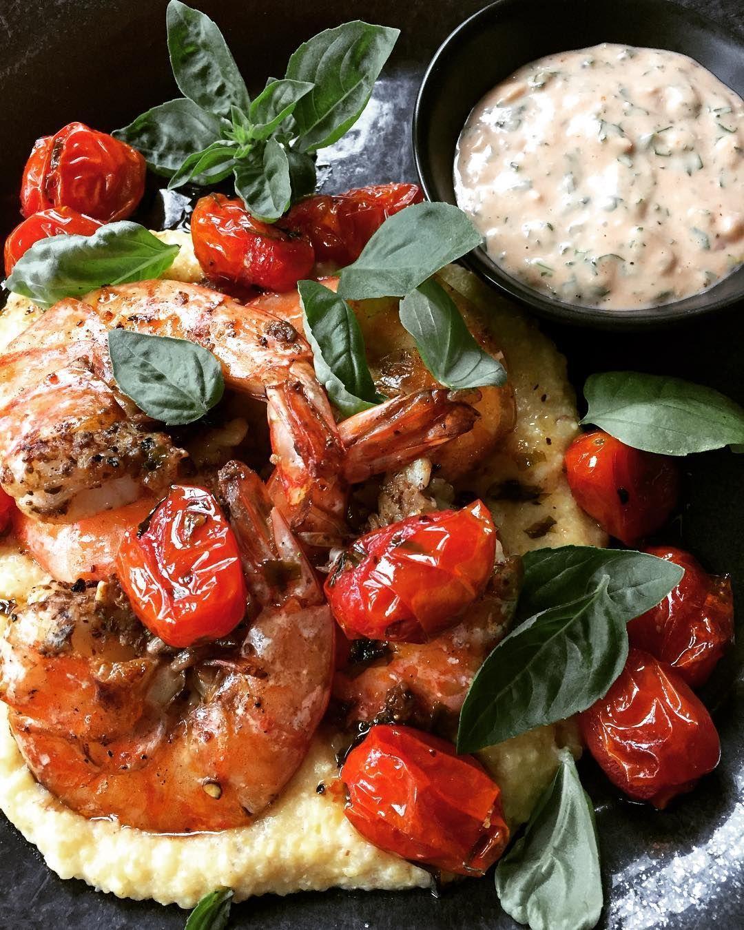 tamaratavel on Instagram Jumbo grilled shrimp with roasted cherry tomatoes a shallot Parmesan polenta and comeback sauce Shrimp and comeback sauce from  Jumbo grilled shr...