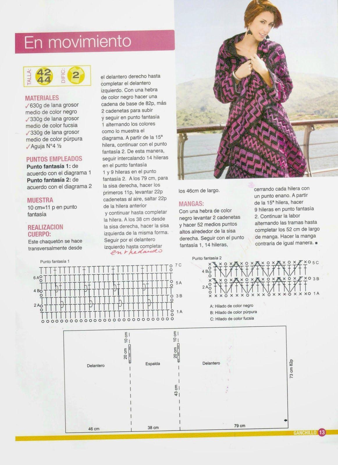 Saco chaqueton etnico crochet rectangular | Diseños | Pinterest ...