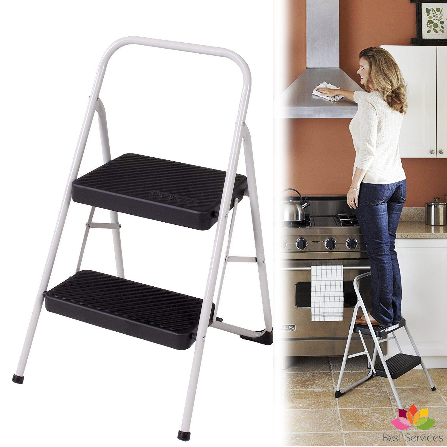 Enjoyable This Sturdy Two Step Steel Step Stool Has Steel Frame And Pdpeps Interior Chair Design Pdpepsorg