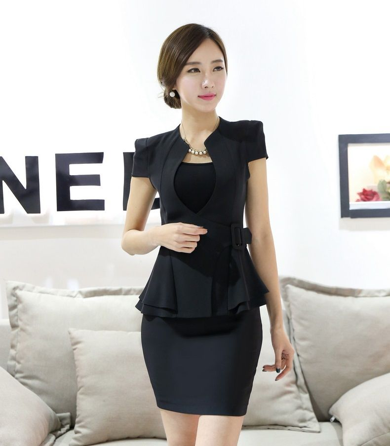 639e224f049 Formal Women Elegant Skirt Suits Blazer and Jacket Sets Summer Short Sleeve Fashion  Ladies Business Suits OL Office Uniform