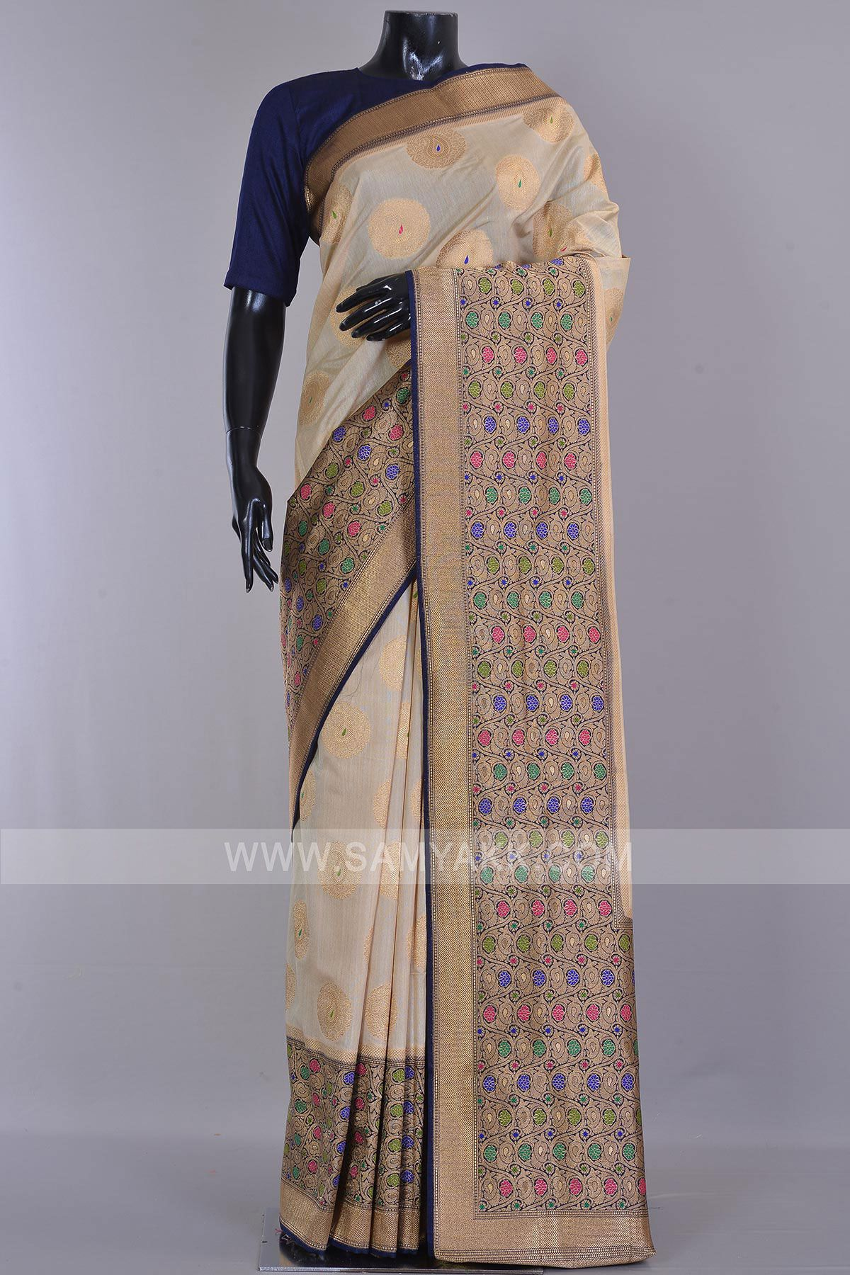 Off white tussar silk saree beige zari woven tussar silk sareeke  great indian sarees