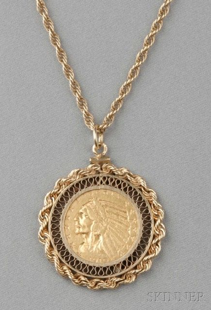 1910 Indian Head Eagle Five Dollar Gold Coin Pendant Sale Number 2610b Lot Number 73 Skinner Auctioneers Gold Coin Jewelry Gold Coin Necklace Coin Jewelry