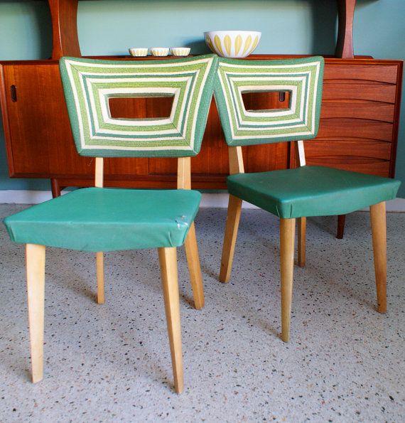 Heywood-Wakefield Chairs (& gorgeous side board behind! - Vintage Pair Of Heywood Wakefield 1940s Green Vinyl Dining Chairs