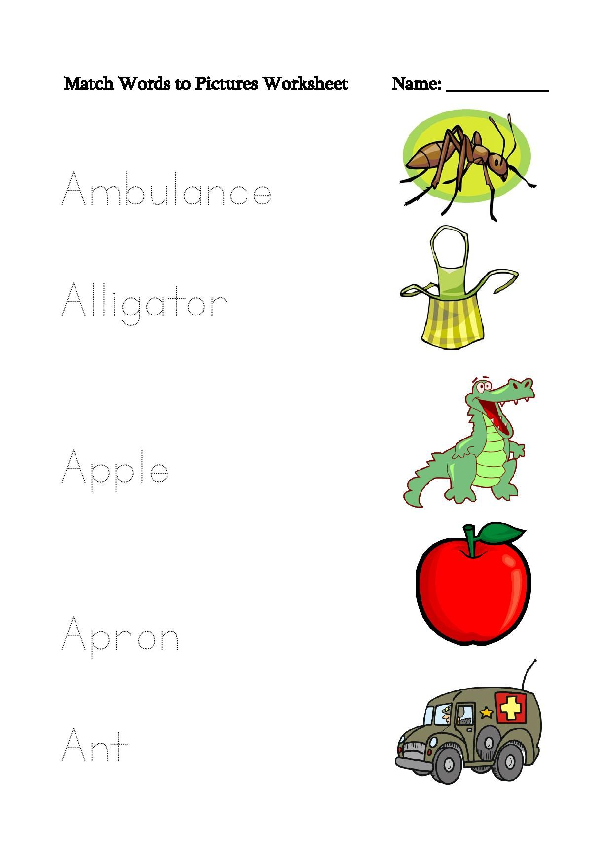 Letter A Words To Match Picture Tracing Worksheets Workingsheet Contains Images Of Apple