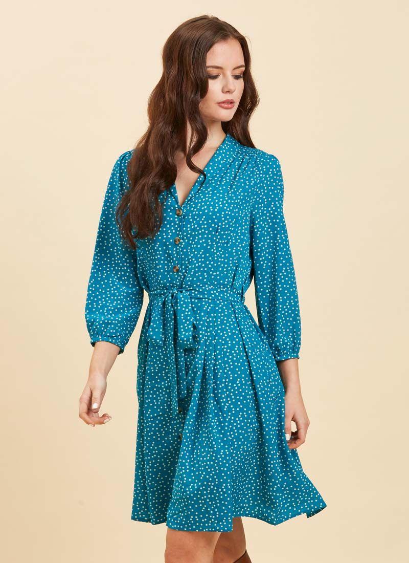 1c8fe21b4e292 Barbara Polka Dot Dress | Button-Through Blue Shirt Dress | Joanie
