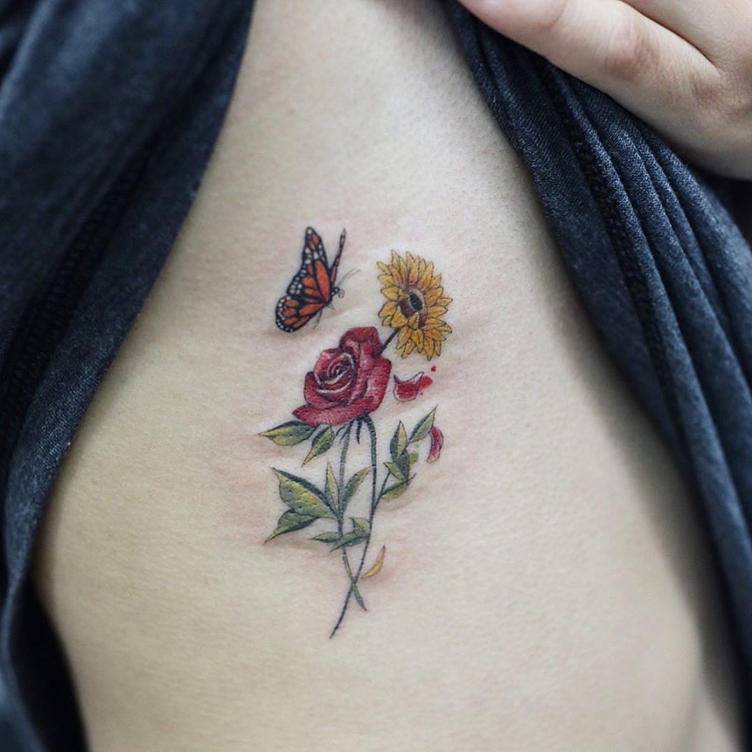 "June Jung on Instagram: ""Rose, sunflower and monarch butterfly for Rita 😘 #flowertattoo #latattoo"""