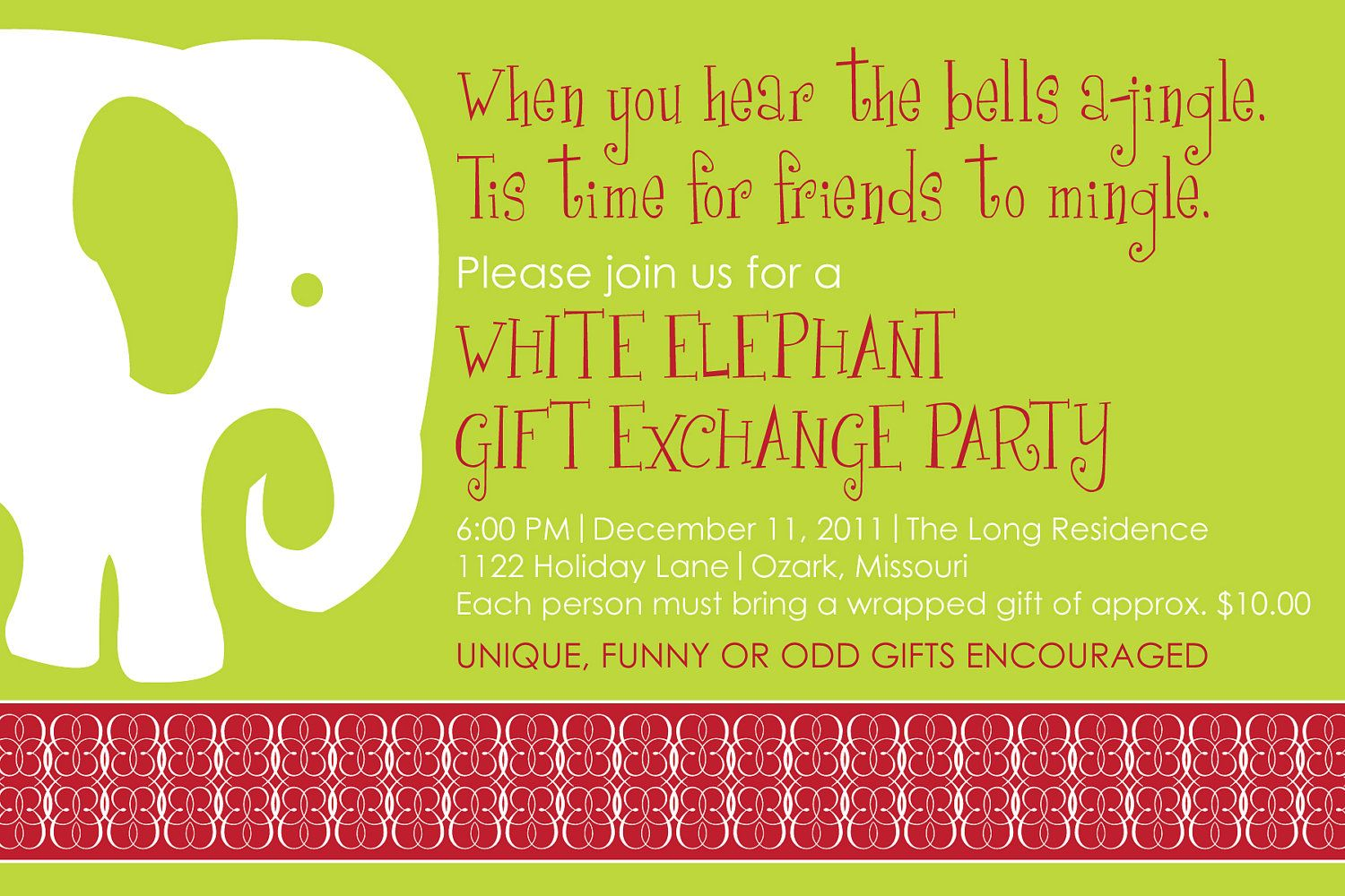 White Elephant Party Invitation Party Time Christmas Party