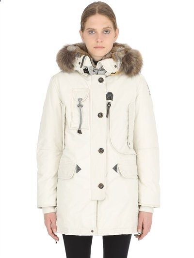 PARAJUMPERS - KODIAK NYLON DOWN JACKET WITH FUR - LUISAVIAROMA - LUXURY SHOPPING WORLDWIDE SHIPPING -