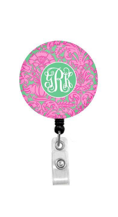 Monogram Badge Holder Monogram Badge Reel Monogram Stethoscope Id Tag -ST116 Personalized Badge Reel Floral Retractable Badge Holder