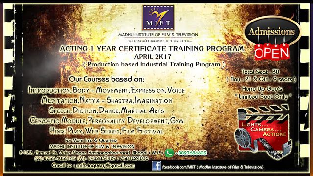 MIFT #ADMISSION OPEN   ACTING 1 YEAR CERTIFICATE TRAINING PROGRAM - certificate for training