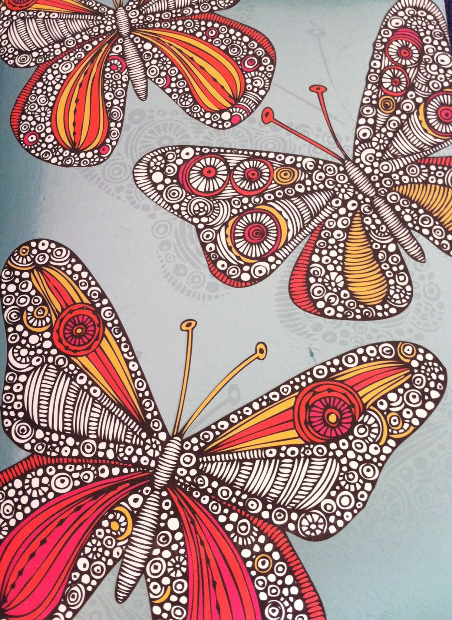 Zen doodle colour - Zentangle Butterfly Painting From Valentina Ramos Diary 2013 Illustration Luv The Hot Colors Butterfly Illustrationdoodle Artzen