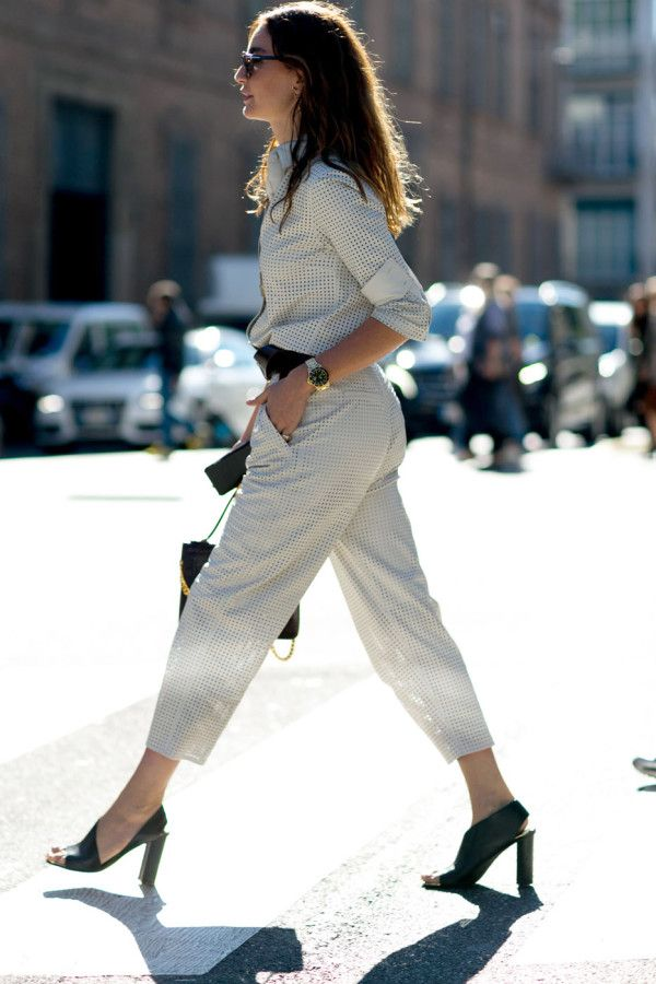 A polished jumpsuit in a shirting fabric is perfect for the office. Accessorize with sleek heels and structured satchel.