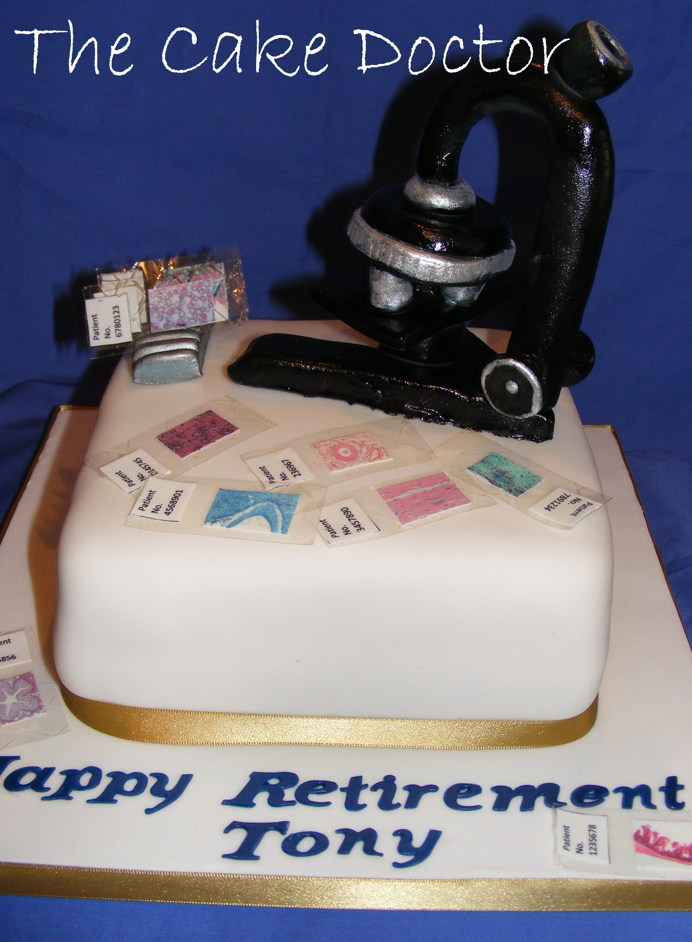 Histology retirement cake complete with handmade microscope and