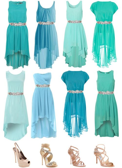 155b47c8a137 Perhaps one of these turquoise bridesmaid dresses for my sisters! They will  have coral pink and peach flowers. Cute right