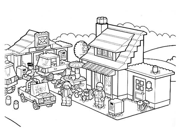 Activity In Lego City Coloring Page Coloring Sun Warna Gambar