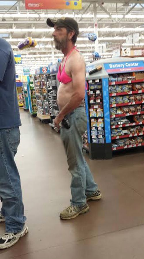 At Walmart We Don't Judge You - Redneck Guy Wears a Pink ...