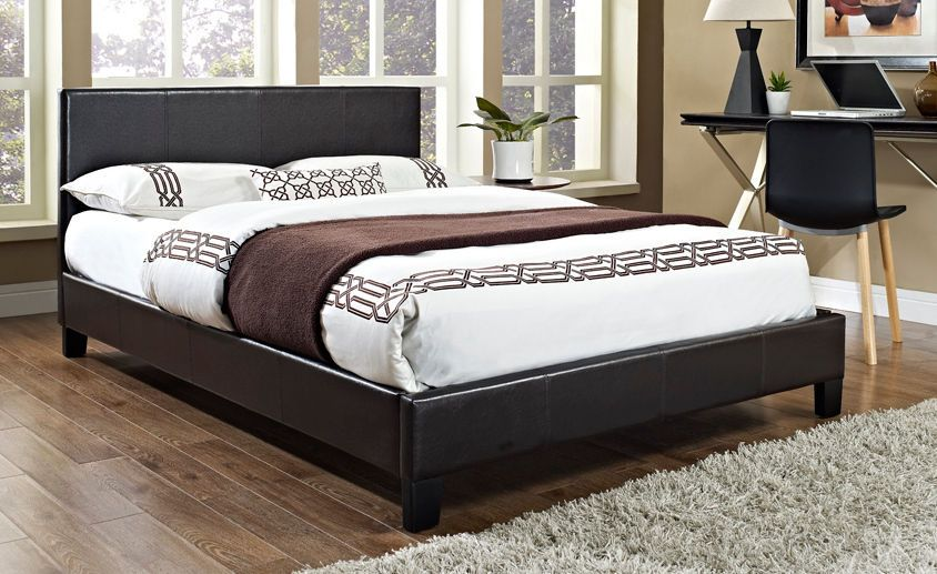 4FT6 Faux Leather Double Bed Frame 3FT Single 5FT King Black Brown ...
