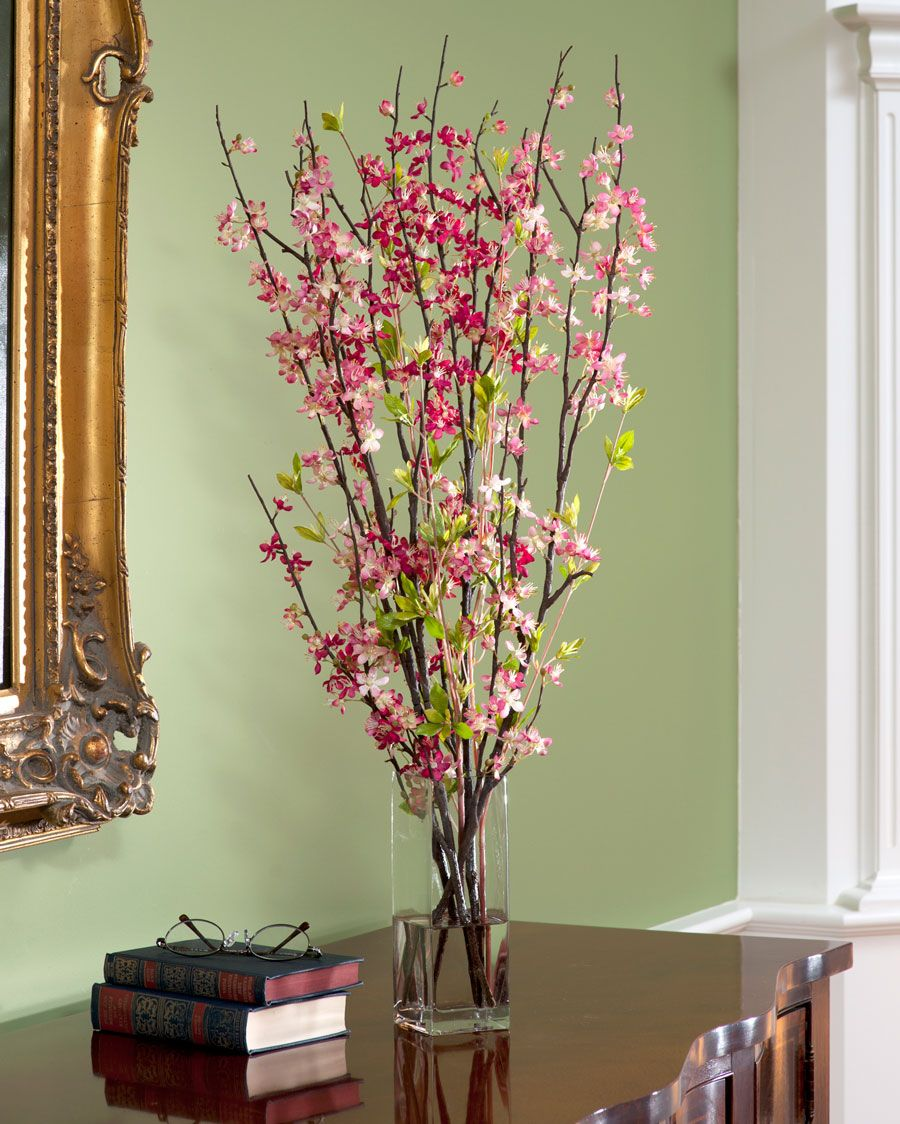 Cherry Blossom Silk Flower Accent Plant Decor Silk Flower Arrangements Flower Arrangements
