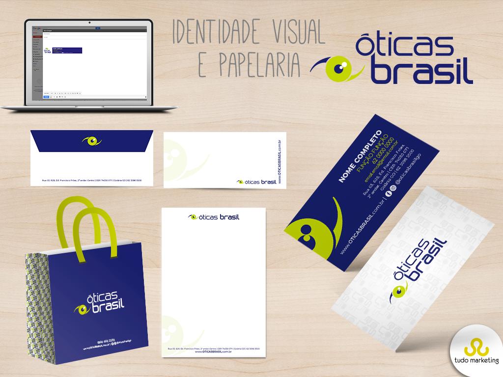 eb3474030 Identidade visual e papelaria da marca Óticas Brasil, uma empresa com mais  de 50 anos