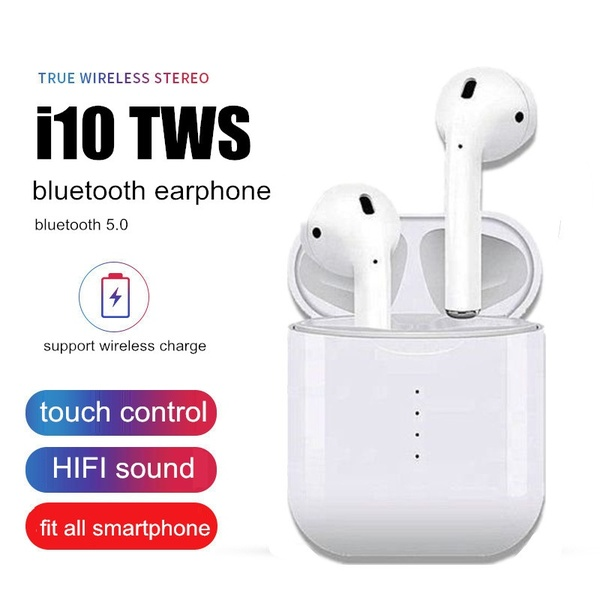 e87765d3330 i10 Tws Wireless Earbuds Bluetooth 5.0 Earphones Touch Control Headphones  support wireless charging for Smartphone