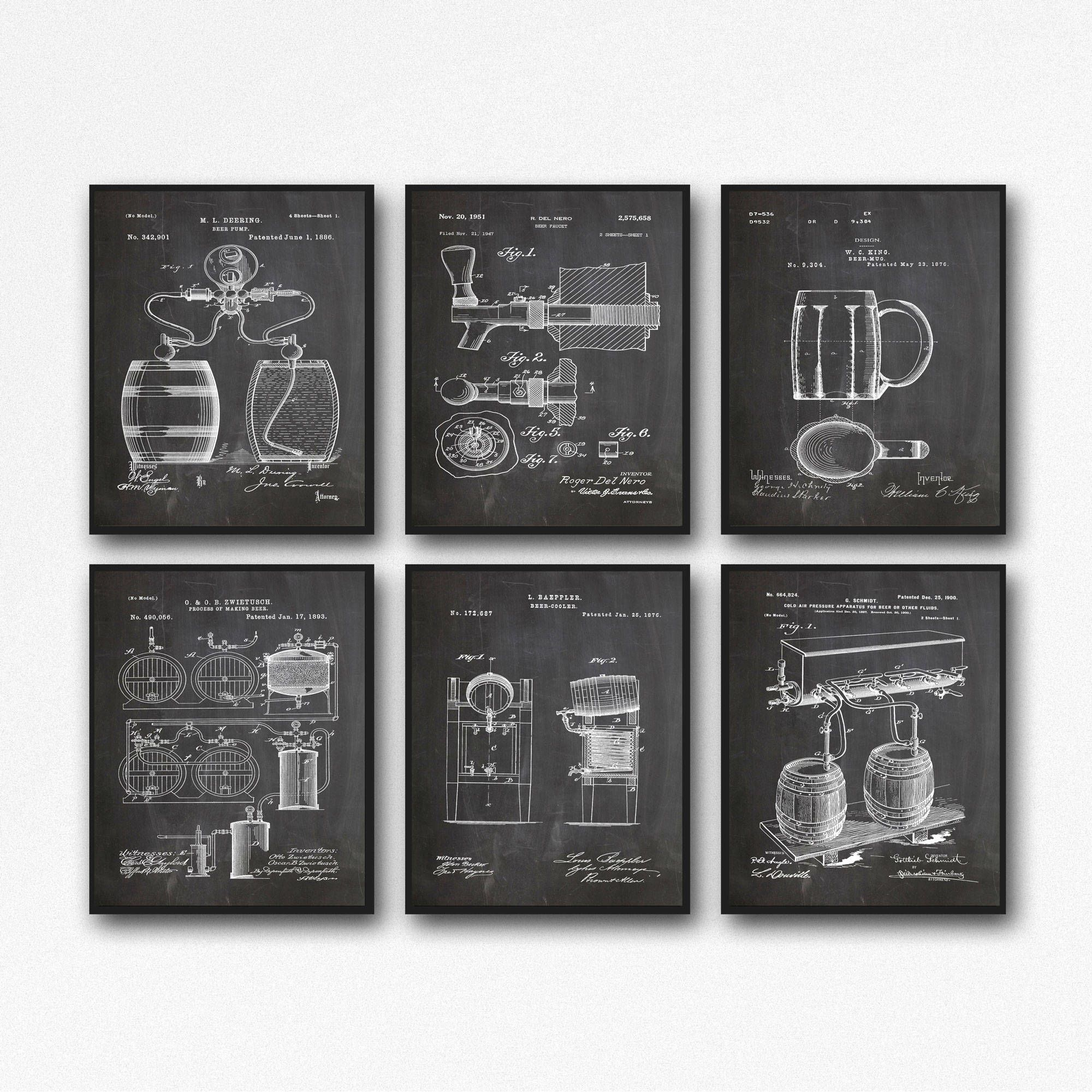 Beer Lover Gift Beer Gift Set Of 6 Beer Patent Posters Home