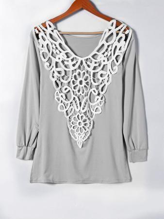 Crochet Lace Insert Hollow Out T-Shirt