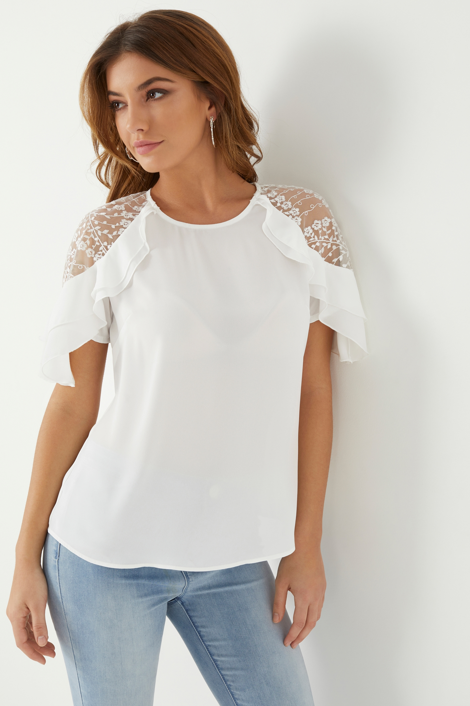 2a4f3901c221 Womens Lipsy Lace Shoulder Frill Top - White