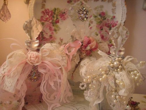 pearls and lace perfume | Lace and jeweled Perfume bottles