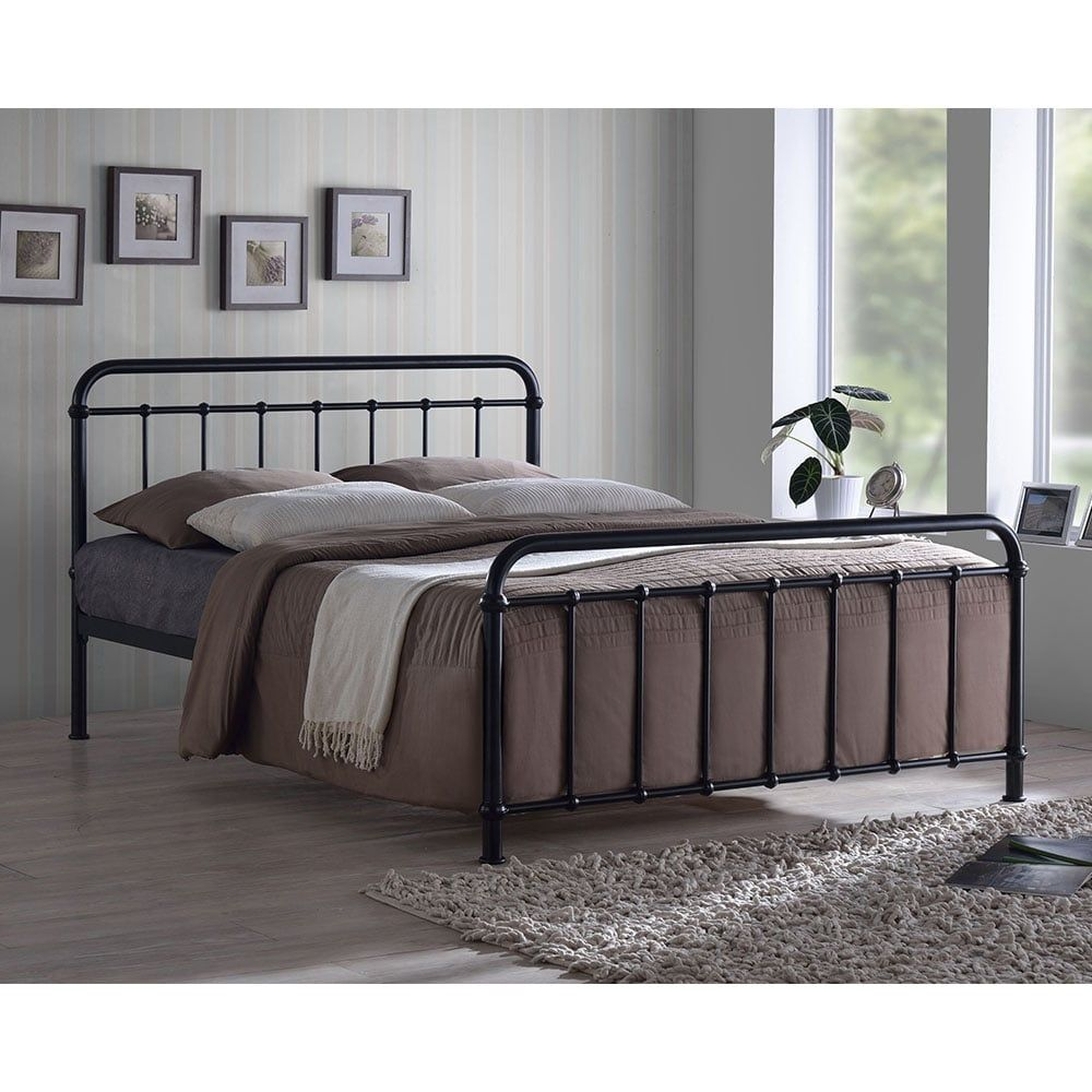 Arabella Metal Hospital Style Double Bed Black In 2020 Black Bed Frame Iron Bed Frame Black Metal Bed