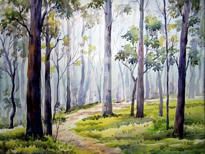 25 Contoh Gambar Pemandangan Hutan Pemandagan Alam Yang Memiliki Kesan Nyaman Dan Juga Indah Tentunya Sangat Diminat Dalam Me Di 2020 Painting Lukisan Kanvas Mural