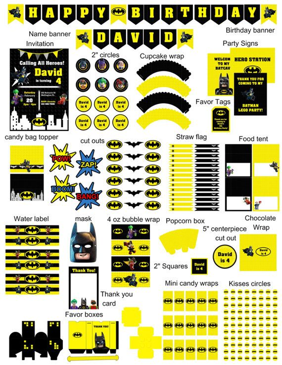 Lego Batman complete birthday party kit! This listing is for a ...