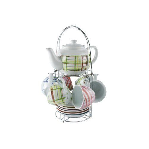 Present Time Multi Colored Tartan Porcelain Tea Set With Stand Kitchen Dining