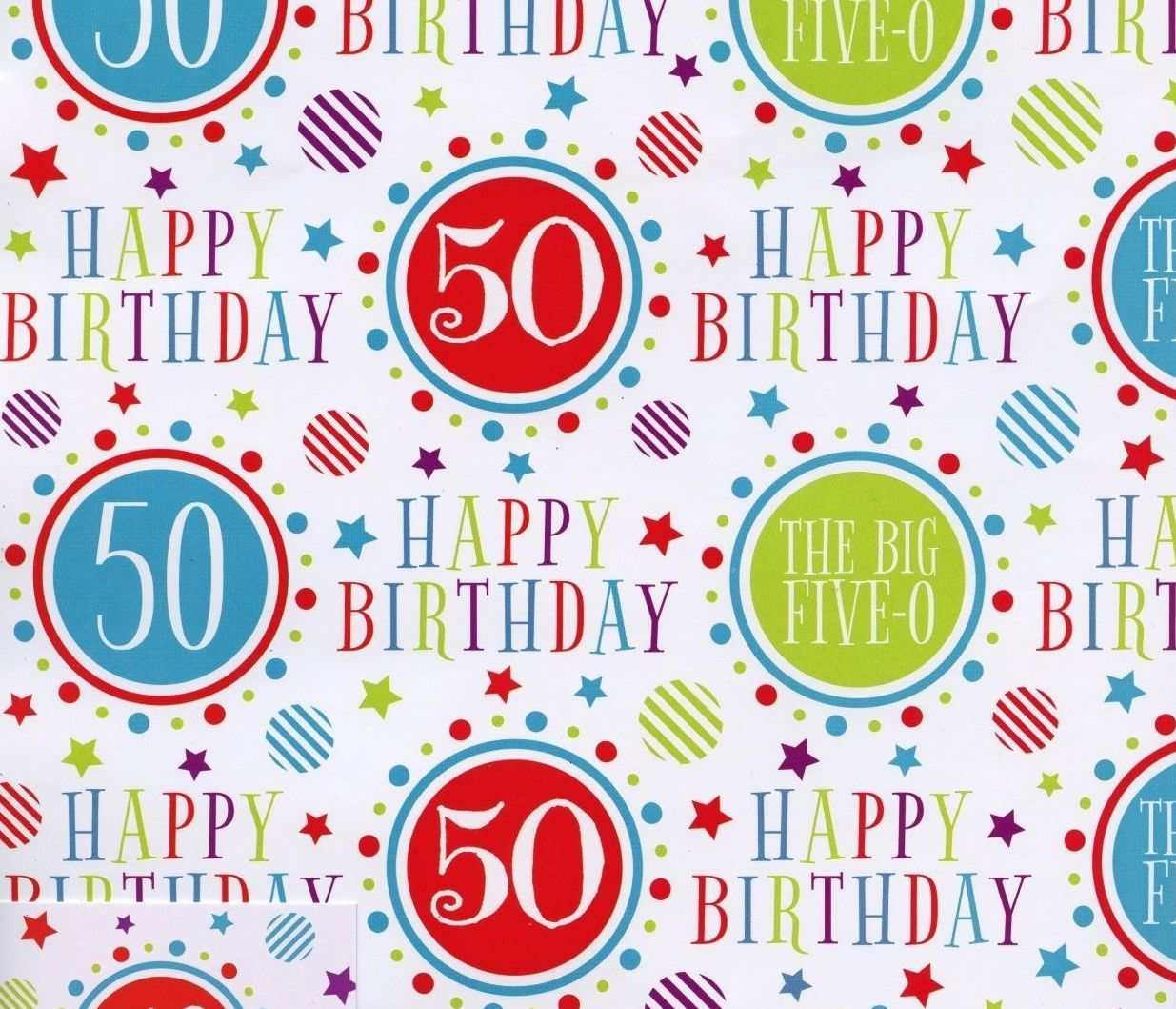 2 Sheets Gift Wrapping Paper Happy 50Th Birthday 50 Today Boy Girl Male Female