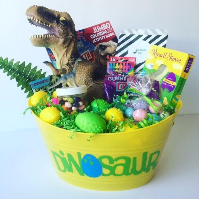Dinosaur Easter Basket Includes A Dinosaur Craft Giant Toy Dinosaur Dinosaur Eggs With A